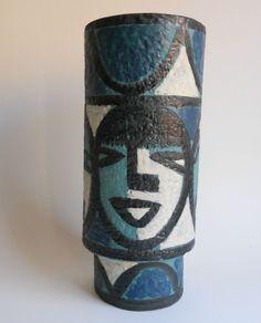 Vase Carstens Tönnieshof 147-28 Masken um 1960 handbemalt