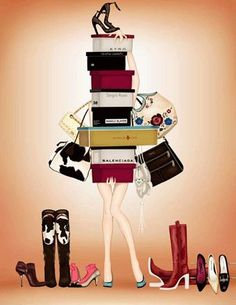Image shared by MiCa. Find images and videos about woman, shopping and lifestyle on We Heart It - the app to get lost in what you love. Virée Shopping, Discount Shopping, Glamour Moda, Mode Chanel, Illustration Mode, Girly, Fashion Wall Art, Shoe Art, Fashion Sketches