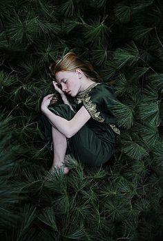 Green - girl - sleeping