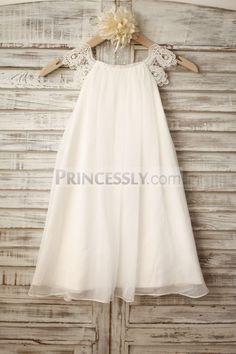 Lace Cap Sleeves Boho Beach Ivory Chiffon Flower Girl Dress