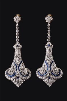 Art Deco Diamond & Sapphire Earrings