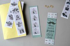 """Idée du jour pour la Fête des pères : Des marque-pages imprimés recto-verso : Un côté décoré et un côté avec des photos dans le style """"photomaton"""""""
