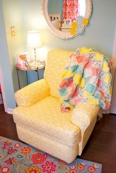 This sunny, yellow armchair stands out in a bright, whimsical nursery. Nursery Twins, Nursery Room, Baby Room, Elephant Nursery, Yellow Armchair, Yellow Nursery, Bright Nursery, Bedroom Yellow, Nursery Neutral