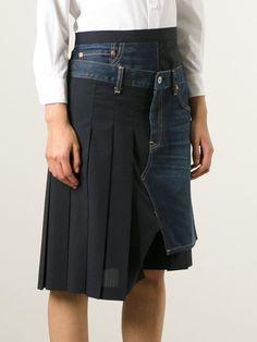 плиссированная юбка с джинсовой вставкой