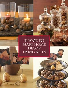 11 Ways to Make Home Decor Using Nuts – These awesome and nutty decor ideas are simple and elegant ways to spruce up your home. Seasonal Decor, Fall Decor, Kitchen Hacks, Craft Activities, Grocery Store, Holiday Fun, Thanksgiving, Place Card Holders, Diy Crafts