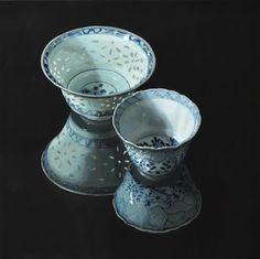Chinese kommetjes (donker) - 100 x 100 cm De stillevens van Sasja Wagenaar