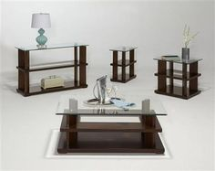 Delfino Contemporary Cherry Wood Glass Rectangular Coffee Table Set