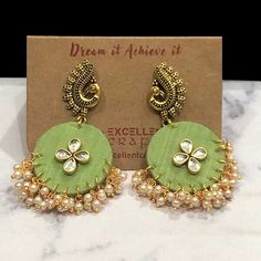 Buy Olive Green Color Round Shape Morini Earrings,Oxidised Fashion Jewellery Jumka Earrings with Excellent Crafts wholesale supplies India. Diy Fabric Jewellery, Thread Jewellery, Lace Jewelry, Beaded Jewelry Patterns, Textile Jewelry, Jewelry Crafts, Terracotta Jewellery Designs, Antique Jewellery Designs, Handmade Jewelry Designs