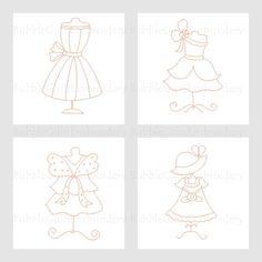 Redwork Dresses Embroidery Designs Instant Download
