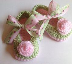 Crochet  Baby Booties, Baby Booties, Baby Girl Booties. $22.00, via Etsy.