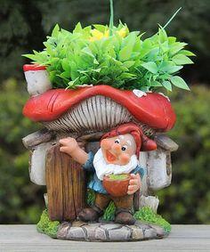 Look at this #zulilyfind! Gnome & Red Mushroom House Flower Pot Planter #zulilyfinds