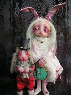 Alice and the White Rabbit in Wonderland Ghost Doll by Gail Lackey