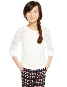 Brushed Floral Lace Sweatshirt with Camisole (5-14 Years) | M&S