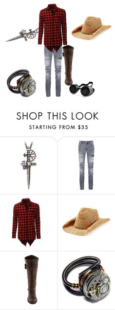 """""""Untitled #92"""" by wndt on Polyvore featuring AMIRI, LE3NO, Flora Bella, Poizen Industries, men's fashion and menswear"""