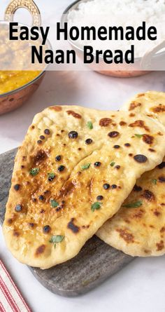 Easy Homemade Naan Bread is an easy Indian flatbread that is yeast-free and comes with flavor options. Easy Homemade Naan Bread is an easy Indian flatbread that is yeast-free and comes with flavor options. Naan Bread Recipe Easy, Make Naan Bread, Homemade Naan Bread, Recipes With Naan Bread, Naan Bread Machine Recipe, Indian Naan Bread Recipe, Quick Bread, Muffins, Cooking For A Group