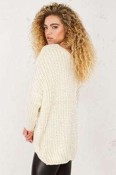 8b11124bf073ee Oversized Knit Sweater in Ivory