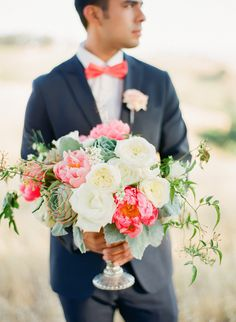 #succulents #peony #bouquet  Photography by cocotranphotography.com    Read more - http://www.stylemepretty.com/2013/08/05/summer-inspired-photo-shoot-from-coco-tran-photography/