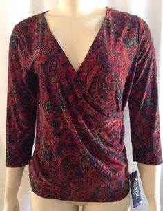 New Chaps Top M Womens Paisley Brown Purple Crossover Shirt Ralph Lauren #LaurenRalphLauren #KnitTop #Career