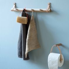 Scandinavian bathroom storage accessories in wood and leather By Wirth Small Furniture, Handmade Furniture, Wall Hook Rack, Wood Bath, Scandinavian Bathroom, Scandinavian Interior, Towel Holder, Bathroom Storage, Diy Woodworking