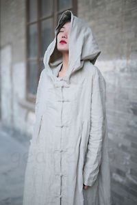 dc567463fc Leisure Cloak Cape 3 Colors Women Cotton Linen Witch Coat Long Dress Vintage  ML
