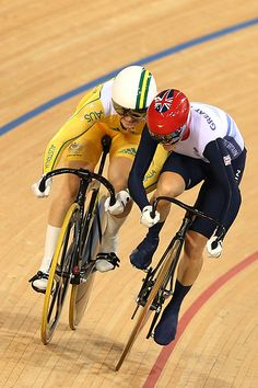 Victoria Pendleton (R) interferes with Anna Meares in the first heat of the women's track cycling sprint event. (Clive Brunskill/Getty Images)