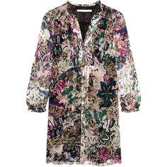 Diane von Furstenberg Annalise printed silk-chiffon mini dress (€210) ❤ liked on Polyvore featuring dresses, multi, shirred dress, loose fitting dresses, multi color dress, loose dresses and mini dress