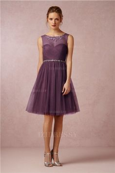 A-Line/Princess Scoop Knee-length Tulle Bridesmaids Dress