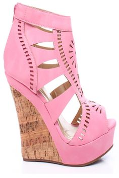 PINK FAUX LEATHER CUTOUTS PEEP TOE CORK PLATFORM WEDGE,Womens Wedge Shoes For Sale-Heels Wedges,Suede Wedges,Lace Up Wedges,Platform Wedges ...