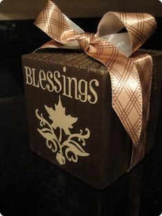 thanksgiving block crafts..... lightbulb... use square kleenex box decorated for yearlong blessing box...