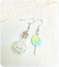 Rainbow Rainbow Lollipop Lollipop Earrings + Cute Bottle Bottle Candy Earrings Fimo Polymer Clay