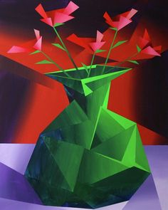 "Daily Paintworks - ""Mark Webster - Abstract Red Roses in Green Vase Prism Acrylic Painting"" - Original Fine Art for Sale - © Mark Webster Simple Acrylic Paintings, Easy Paintings, Acrylic Painting Canvas, Original Paintings, Flower Paintings, Painting Abstract, Flower Vases, Flower Art, Flower Vase Drawing"