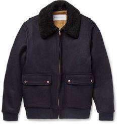 Shearling-Trimmed Melton Wool Bomber Jacket | MR PORTER
