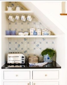 Cute little coffee nook for a guest kitchenette - coffee maker, mini fridge, toaster, or small microwave Small Space Kitchen, Kitchen Nook, Kitchen Shelves, Open Kitchen, Kitchen Storage, Small Spaces, Kitchen Tiles, Kitchen Units, Wine Storage