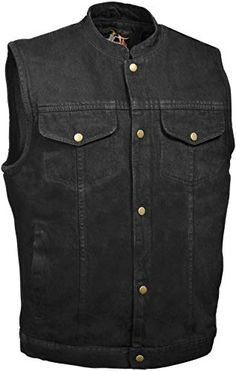 Milwaukee Mens Denim Club Vest with Hidden Snap and Zip Blue, X-Large