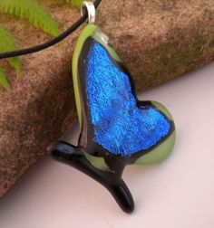 Butterfly in Fused Glass Sapphire Blue and Lime by uniquenique, $28.00 #onfireteam #lacwe #teamfest