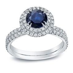 Auriya 14k Gold 3/4ct Sapphire and 1ct TDW Round Diamond Halo Engagement Ring (H-I, SI1-SI2) (White Gold - Size ), Women's