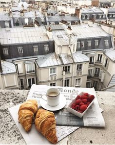 Croissants and coffee for breakfast on the balcony in Paris, France. Places to visit and see on your vacation trip to Paris. Paris bucket list things to do. The Places Youll Go, Places To Go, Paris By Night, Belle Villa, Travel Aesthetic, Paris Travel, France Travel, Belle Photo, Travel Inspiration