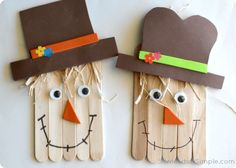 card OR card enclosure. Make hat. Lay sticks side by side, draw smile, glue on eyes & nose. sign you name on front or back. take apart use as card or include in card for child to assemble when received in mail