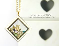 South Hill Designs UK - A Diamond Locket in Golds and Greens
