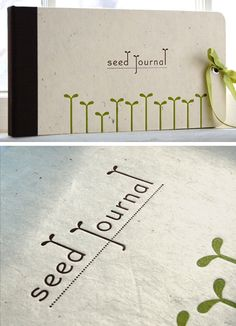 "Really liking these elegant letterpress Seed Journals from The Petite Press.  Twenty-five green pages inside are printed with the word ""notes"" next to a blank area sized for a seed packet. I like to keep track of the date I've planted my seeds and where, how they fare, and a sketch or two, plus keep the seed packet so I have the information handy. The pages can be removed or rearranged by undoing the screw posts. There are paper spacers between each page to allow room for the seed packets, and sixty small clear circular stickers are included for attaching your seed packets.  (via poppytalk)"