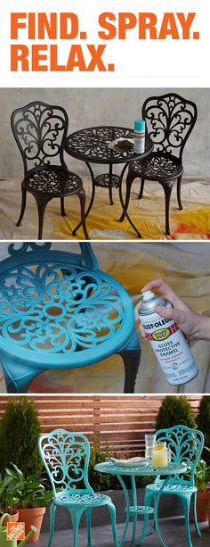 Give your backyard a quick, vibrant refresh by adding a splash of color to your existing patio furniture. Choose from a variety of Rust-Oleum spray paint colors and finishes to fit your style. The paint is rust- and corrosion-resistant to withstand unpredictable weather conditions. Click to explore more Rust-Oleum Stops Rust spray paints.