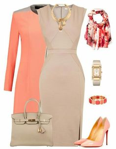 Coral and khaki...so chic!