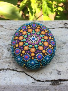 Piedra de mar Mandala de pintado a mano