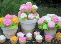 Cupcake Bouquet | MyCakeSchool Blog ~ In this cupcake video tutorail, you will learn a few different methods on how to create a beautiful cupcake bouquet display!