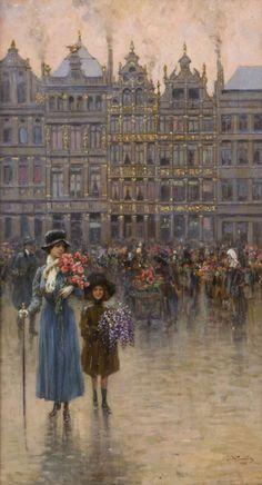 Giuseppe De Sanctis   Mercato di fiori a Bruxelles