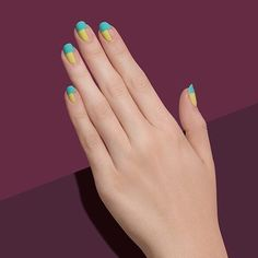 """1,216 Likes, 8 Comments - Paintbox (@paintboxnails) on Instagram: """"Try our linear Perfect Pairing mani in mint and yellow to elongate your fingers. ✨"""""""