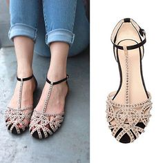 Rhinestone Cut Out T-Strappy Gladiator Flat Shoes Womens Round Toe Roman Sandals
