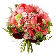 rosas, viburnum opulus, peonías e hiedra