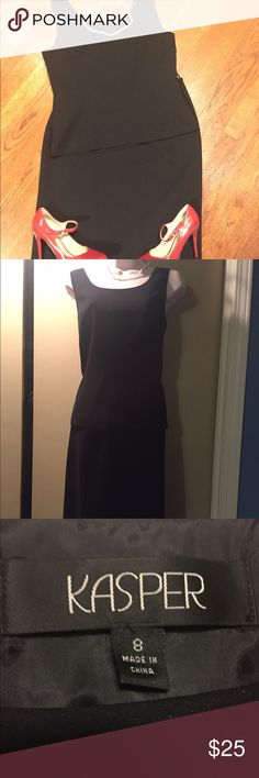 🎉HP🎉Two piece classic black suit Classic at its best.  Two piece suit with 25 in long skirt.  Waist is 15 inches across.  Sleeveless shirt zips up the side.  21 inches long. Armpit to armpit is 10 inches. Both pieces are fully lined and in excellent condition.  I wear scrubs now and don't dress up for work 😢 Kasper Dresses Midi