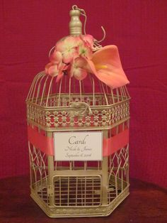 Champagne Birdcage Card Box With Pink Coral Accents ~ Wedding Card Holder